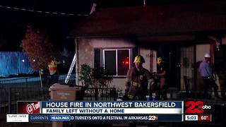 Family of four is displaced after their home catches fire in Northwest Bakersfield - Video