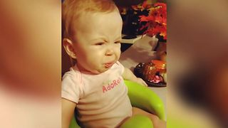 Baby Girl Has Her First Sour Candy - Video