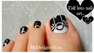 Black & White Toenail Art Design ♥ Monochrome Pedicure - Video