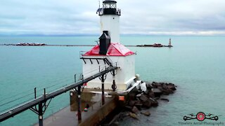 Lake Michigan lighthouse winter tour drone footage