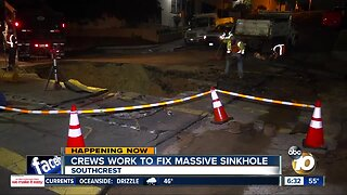 Crews repair sinkhole that opened in Southcrest street