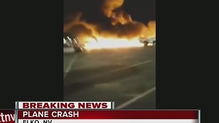 Medical plane bursts into flames after crashing into Elko parking lot - Video