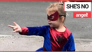 Toddler meltdown after cast as an angel in school nativity - when she wanted to be SPIDERMAN