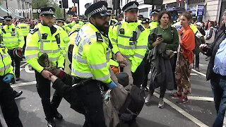 Police arrest Extinction Rebellion activists at Marble Arch in London