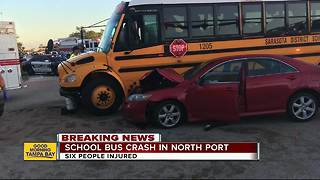 School bus crash in North Port injures six, including high school students - Video