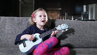 Little Girl's First Song On Ukulele Is Totally Enchanting