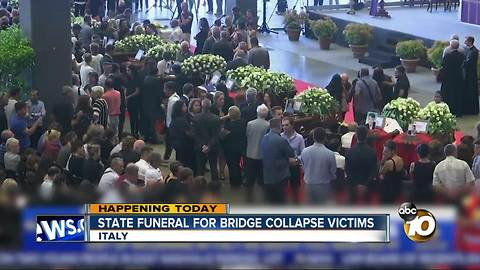 State funeral for bridge collapse victims, Genoa Italy