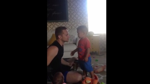 "Kid freaks out when he see dad ""fake"" cry"