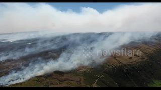 Drone footage captures scale of Saddleworth Moor Fire - Video