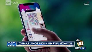 Colleague unlocks iPhone X with facial recognition
