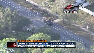 Man in motorized wheelchair killed in crash involving pickup truck - Video
