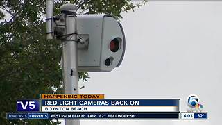 Red-light cameras back on in Boynton Beach - Video