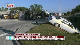 Truck crash closes northbound lanes of Tamiami Trail - 8:30am live report - Video