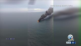 Crews respond to boat fire off Bathtub Beach - Video