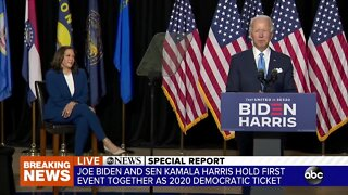 Joe Biden introduces Kamala Harris as running mate