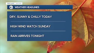 Dry today and windy Sunday
