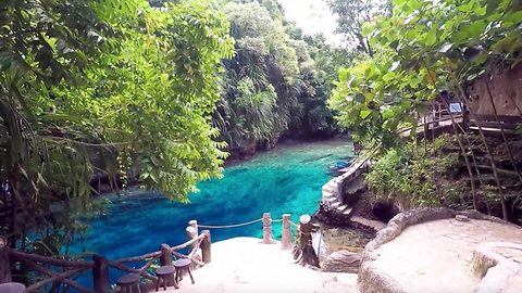 Beautiful footage shows adventurers swimming through Enchanted river