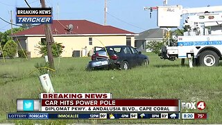Car crashes into power pole in Cape Coral Tuesday morning