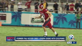 Former FAU kicker Greg Joseph signs contract with Miami Dolphins - Video