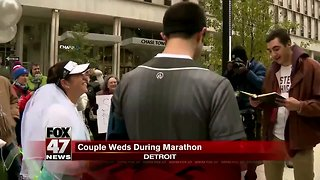 Couple gets married halfway through Freep/Chemical Bank Marathon, then continues race