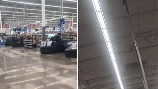 Large hail breaks through store skylights during storm