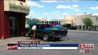 Ford Ranger crashes in South Omaha building - Video