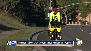 Firefighter's cross-country bike ride takes him to Arizona