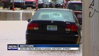 Water main break floods historic street in Midtown - Video