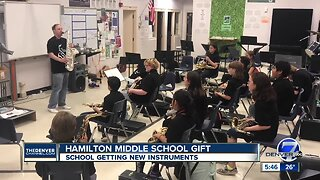 Hamilton Middle School getting a large donation of instruments
