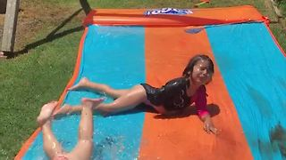 Funny Water Slide Mishap - Video