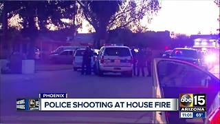 Suspect shot at scene of house fire in Phoenix - Video
