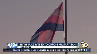 Trans flag raised to oppose military ban