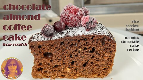 Chocolate Almond Coffee Cake from Scratch | EASY RICE COOKER CAKE RECIPES