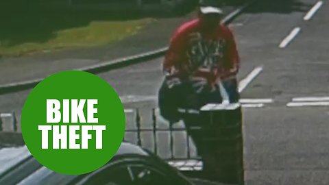 CCTV captures brazen thieves stealing a child's mountain bike from a driveway in broad daylight