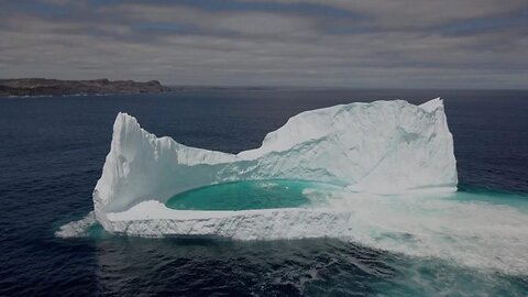 Drone Captures Stunning Natural Pool Inside Iceberg
