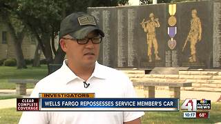 Wells Fargo repo's deployed service member's car - Video