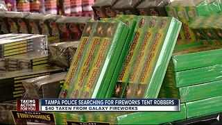 Armed men wearing masks rob Tampa fireworks stand - Video