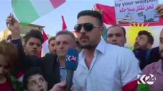Kurdish Demonstrators Gather Outside US Consulate in Erbil to Protest Iraqi Offensive in Kirkuk - Video
