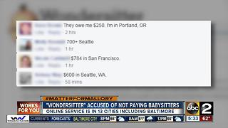 Babysitter service accused of not paying sitters - Video