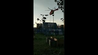 Air ambulance performs tight squeeze take-off from South London playground