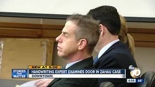 Handwriting expert examines door in Zahau case - Video