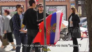 'What's going on? I just saw a load of tanks!' Vlogger pranks Russians on Victory Day - Video