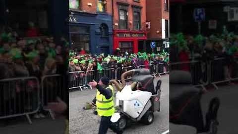 Street Cleaner Gets The Crowd Going at Dublin's Saint Patrick's Day Parade
