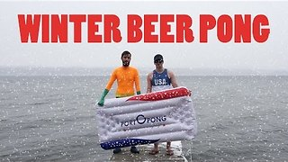 Winter Beer Pong in Cayuga Lake - Video