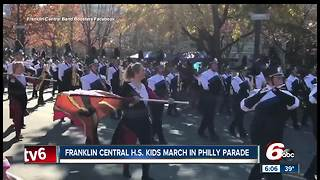 Franklin Central High School band march in Philadelphia Thanksgiving parade - Video