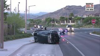A rollover crash reported in Northwest Las Vegas - Video