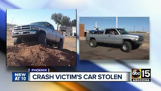Man injured in collision has truck stolen from him - Video