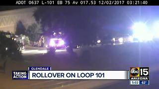 Driver hospitalized after rollover on Loop 101 in Glendale - Video