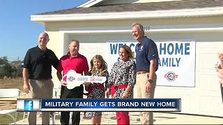Military family that has moved 20 times in 16 years gets brand new mortgage-free permanent home - Video