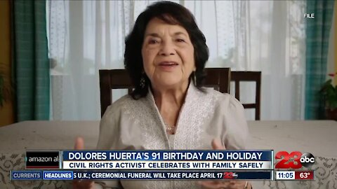 Dolores Huerta celebrates her 91st birthday and statewide holiday today!